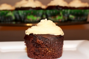 Caramel Filled Chocolate Avocado Cupcakes with Peanut Butter Caramel Frosting 1