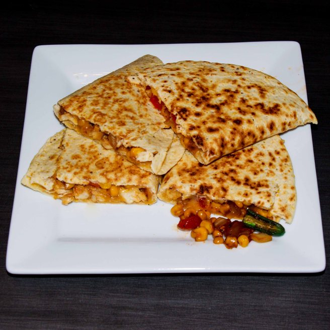 Corn Pepper Salsa Chicken Quesadilla