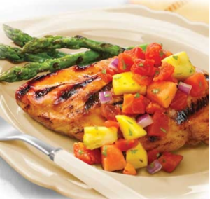 Grilled Chicken with Tomato-Fruit Salsa