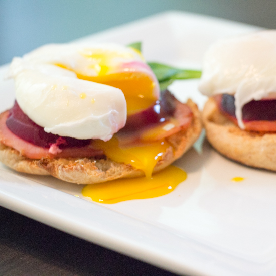 Roasted Beet Eggs Benedict