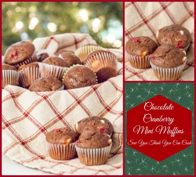 Chocolate Cranberry Mini Muffins for Crazy Ingredient Challenge and #SundaySupper from Sew You Think You Can Cook