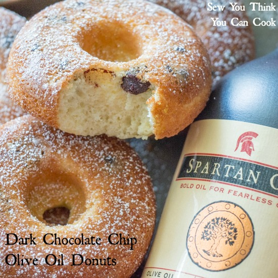 Dark Chocolate Chip Olive Oil Donuts for the #EVOOChallenge from Sew You Think You Can Cook (2)
