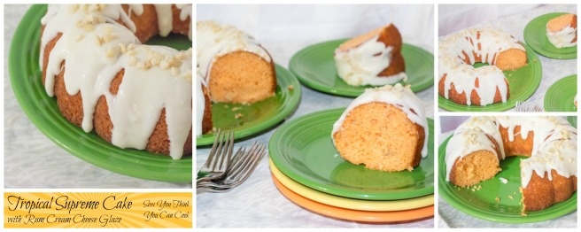 Tropical Supreme Cake with Rum Cream Cheese Glaze for #BundtBakers from Sew You Think You Can Cook