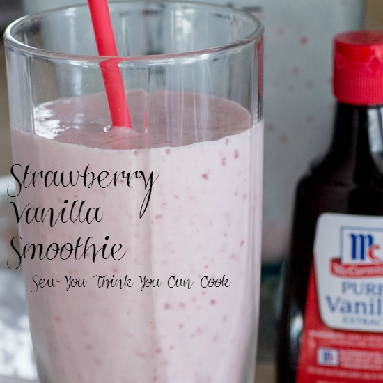 Strawberry Vanilla Smoothie for Secret Recipe Club from Sew You Think You Can Cook