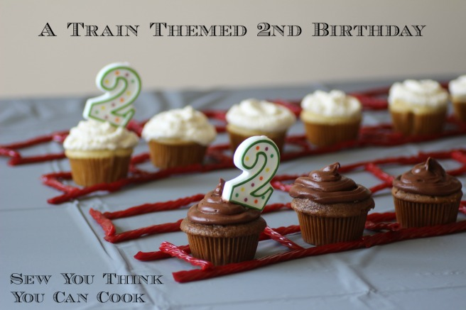 Cupcakes for a Train Themed 2nd Birthday Party