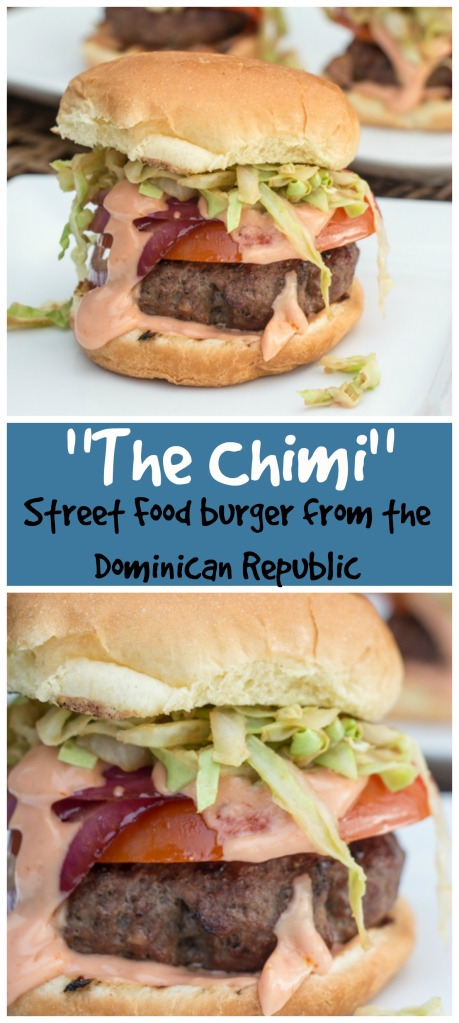 """The Chimi"" is a popular burger from the Dominican Republic, flavored with soy and Worcestershire, topped with sauteed cabbage, onion, and tomato. 