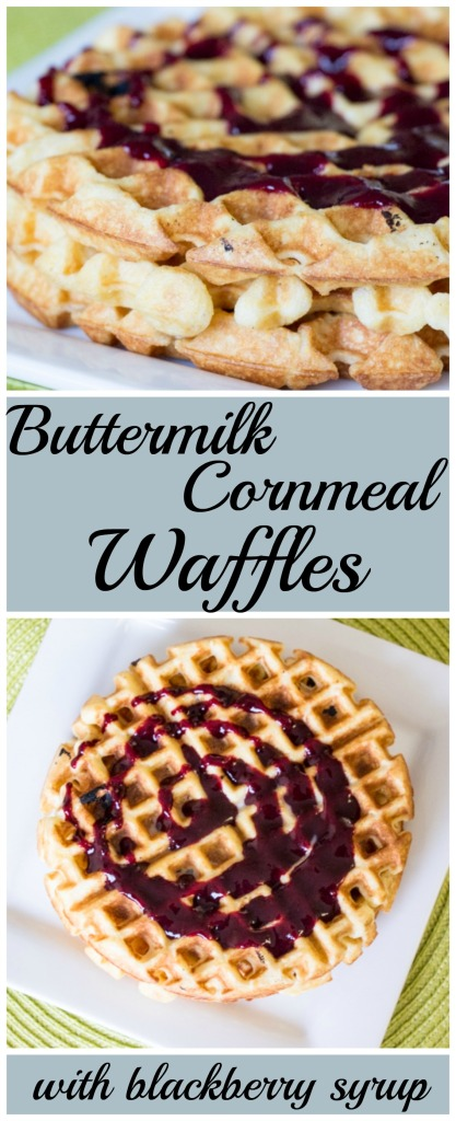 Buttermilk Cornmeal Waffles with Blackberry Syrup for #WaffleWeek2016 from Sew You Think You Can Cook