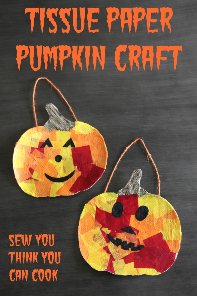 Tissue Paper Pumpkin Craft | Sew You Think You Can Cook | http://sewyouthinkyoucancook.com