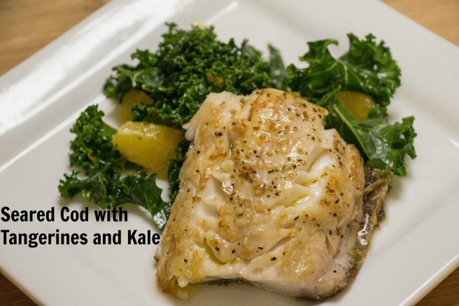 Seared Cod with Tangerines and Kale | Sew You Think You Can Cook | http://sewyouthinkyoucancook.com