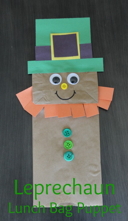 Leprechaun Lunch Bag Puppet | Sew You Think You Can Cook | http://sewyouthinkyoucancook.com
