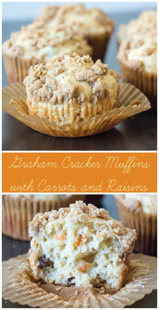 Graham Cracker Muffins with Carrots and Raisins for #MuffinMonday and #CrazyIngredientChallenge