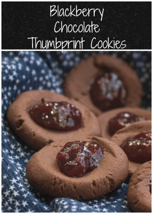 Blackberry Chocolate Thumbprint Cookies for #DarkRecipes #SolarEclipse
