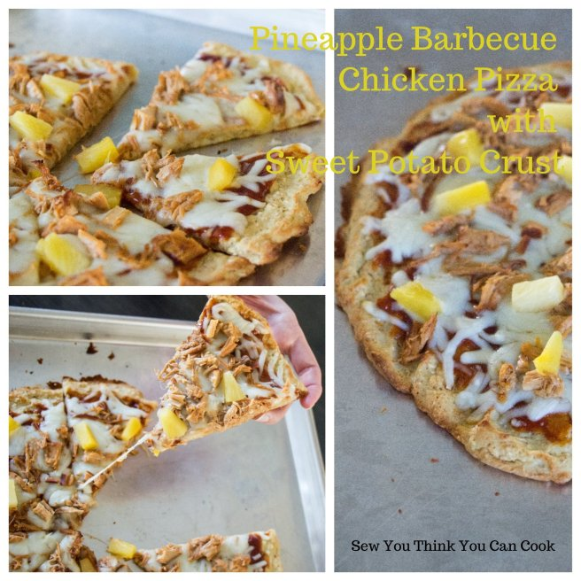 Pineapple Barbecue Chicken Pizza with Sweet Potato Crust for Crazy Ingredient Challenge from Sew You Think You Can Cook