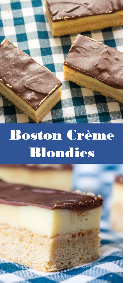 Boston Creme Blondies | Sew You Think You Can Cook | http://sewyouthinkyoucancook.com